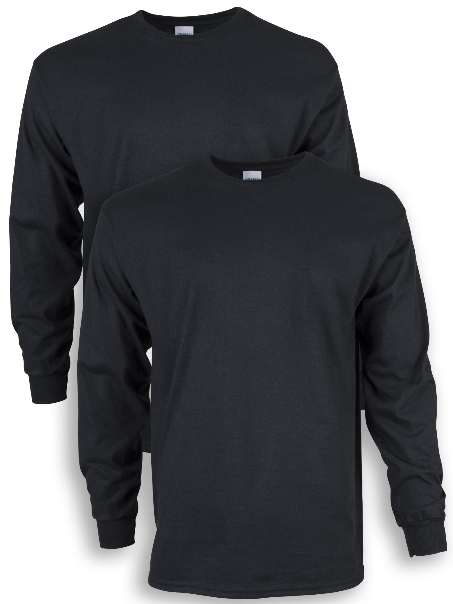 Gildan Men's Ultra Cotton Adult Long Sleeve T-Shirt, 2-Pack, Black, Large