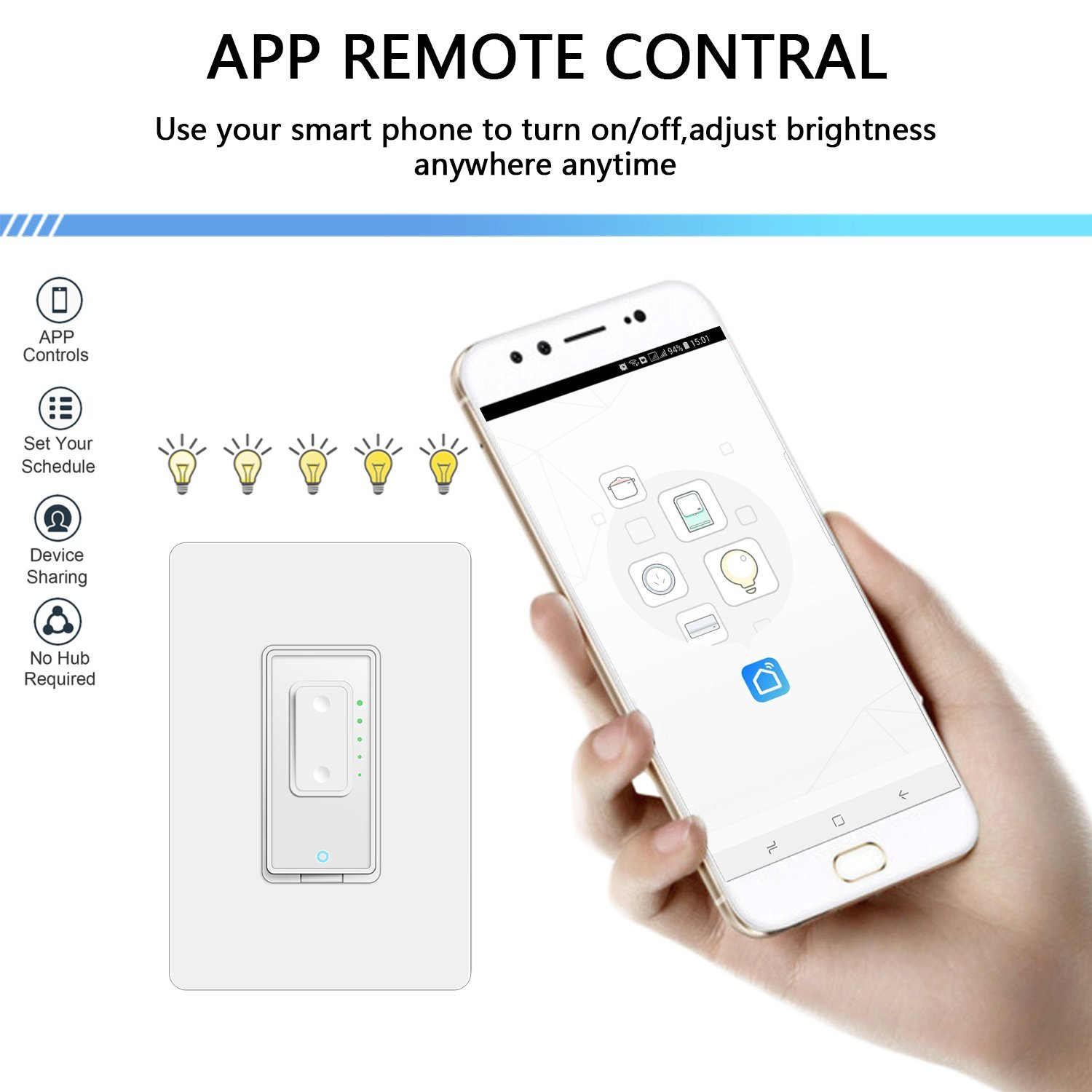 Smart Dimmer Switch by Martin Jerry | SmartLife App, Mains Dimming ONLY, Compatible with Alexa as WiFi Light Switch Dimmer, Single Pole, Works with Google Assistant [For Sale NOW] by Martin Jerry (Image #4)