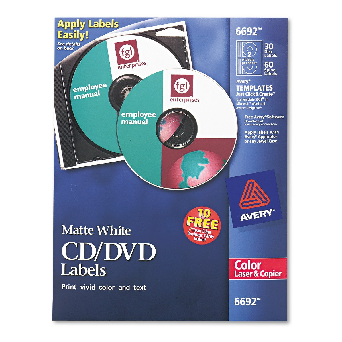 Amazon avery white cd labels for laser printers 40 disc amazon avery white cd labels for laser printers 40 disc labels and 80 spine labels 5692 printer labels office products saigontimesfo