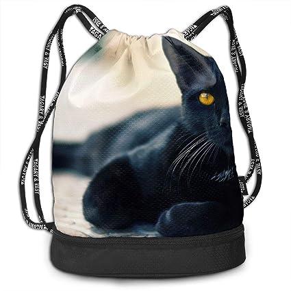 ce0469f1e1bc Amazon.com  Black Cat Yellow Eyes Summer Backpack 3D Print Draw Cord ...