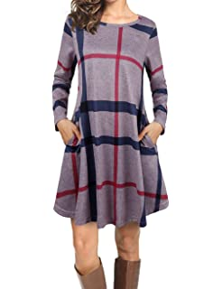 8c18bc12f0067 Faddare Women s Casual Loose Long Sleeve Striped Plaid Tunic Dress with  Pockets