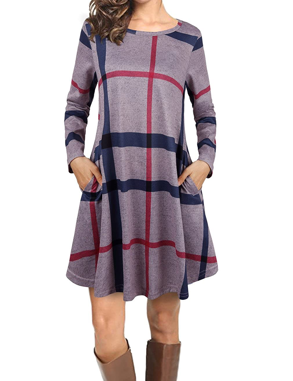 5ae2c4411 FANSIC Women Casual Long Sleeve Loose Checkered Plaid Swing Tunic T-Shirt  Dress with Pocket at Amazon Women's Clothing store: