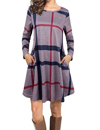 4528e4ccde6c Faddare Women s Casual Loose Long Sleeve Striped Plaid Tunic Dress ...