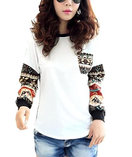 Minetom Mujer Camisa Manga Larga Azulejo Patrón Cuello Redondo Suéter Casual Tops Blusa Blanco ES 36