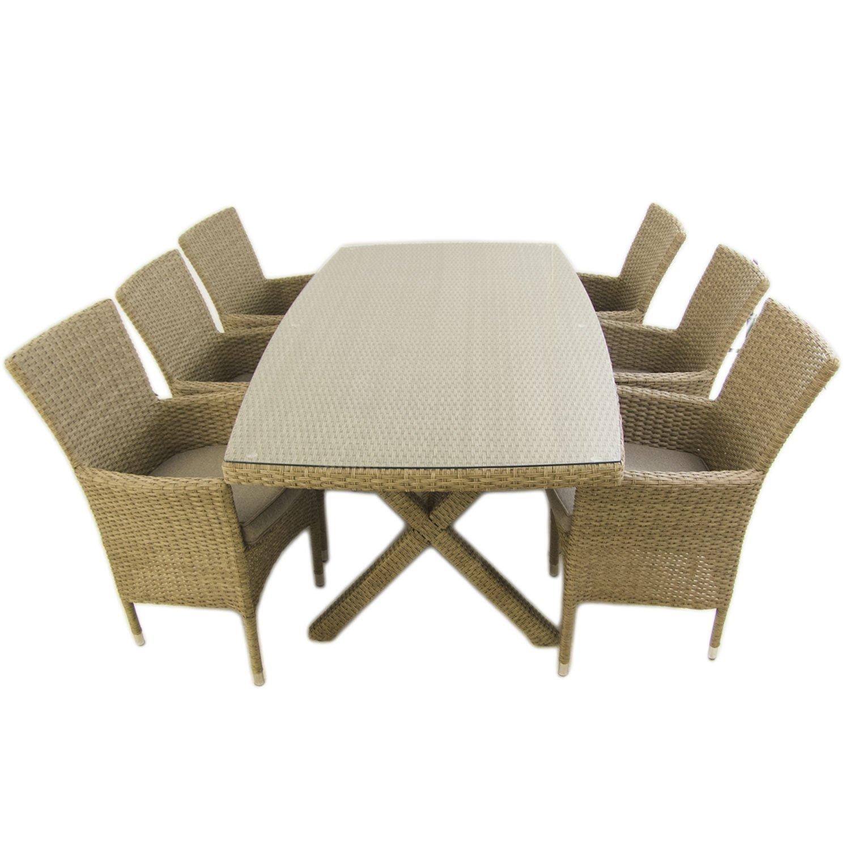 Conjunto Muebles jardín | Mesa 200x100 cm y 6 sillones apilables | Aluminio y rattán sintético Plano Color Natural | 6 plazas | Cristal Templado 5 mm ...