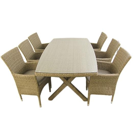 Conjunto Muebles jardín, Mesa 200x100 cm y 6 sillones apilables, Aluminio y rattán sintético Plano Color Natural, 6 plazas, Cristal Templado 5 mm