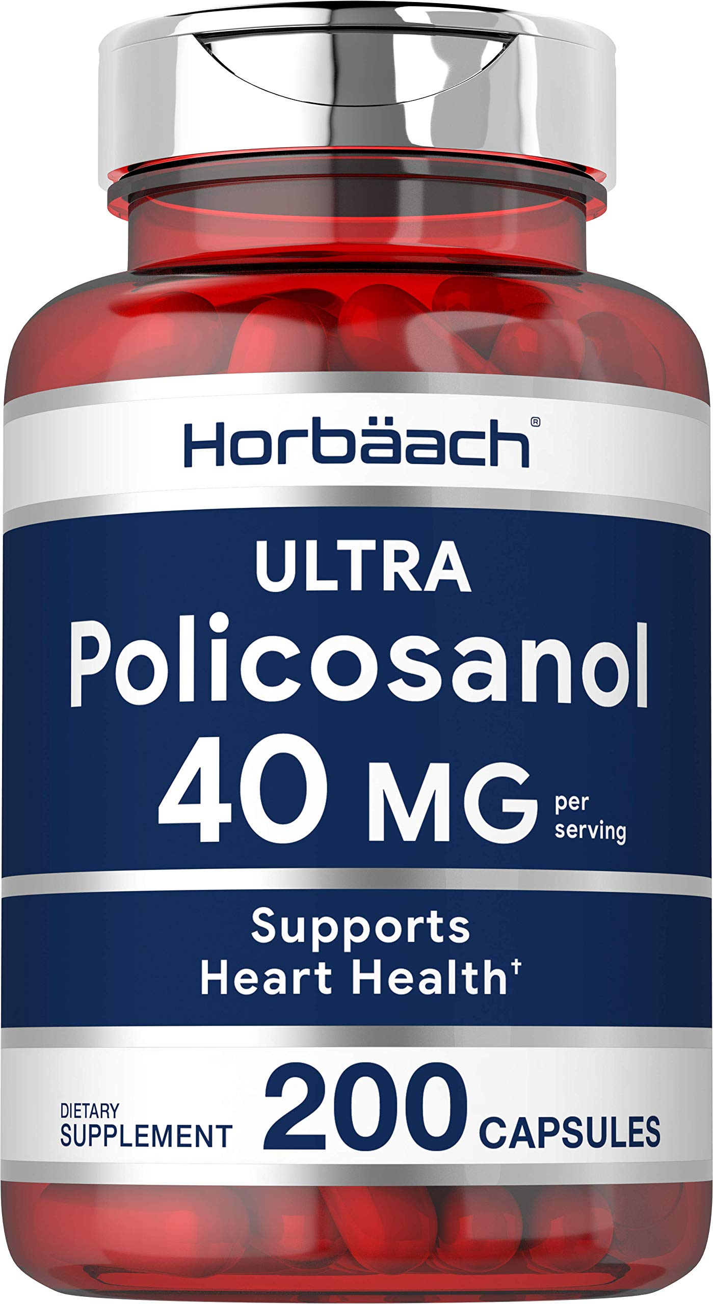 Policosanol 40mg | 200 Capsules | Supports Cholesterol and Heart Health | Non-GMO and Gluten Free | by Horbaach