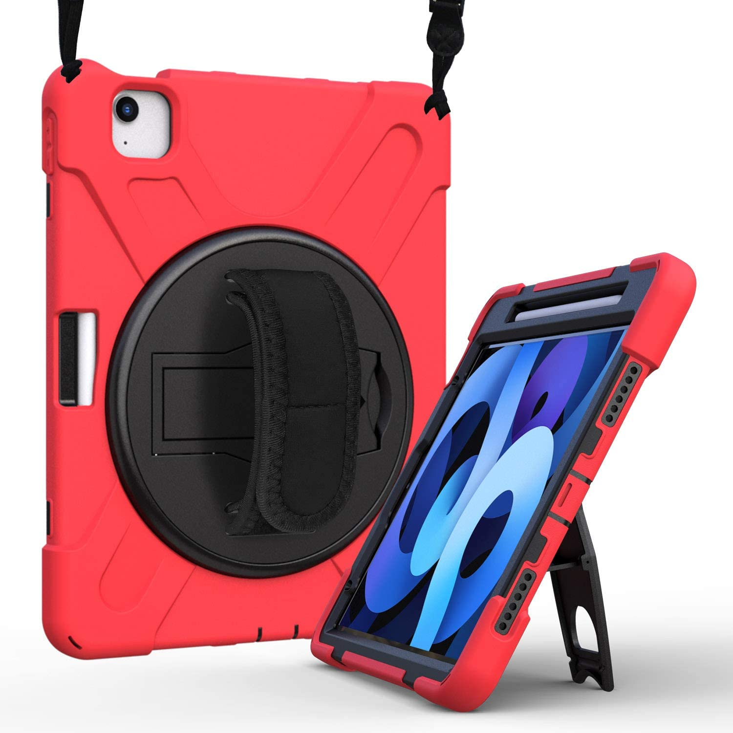 Case for iPad Air 4 10.9 Inch 2020 | Herize iPad Air 4th Generation Case | Three Layer Heavy Duty Armor Defender Protective Cover with Rotating Strap Stand for Pro 11 inch 2020 2nd Gen/2018 1st Gen