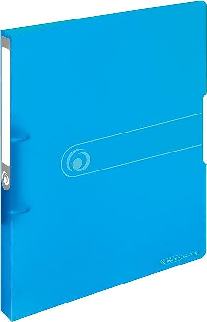Herlitz 11205713 - Archivador de anillas (A4, polipropileno, lomo de 2,7 cm, capacidad de 16 mm), color negro, color Azul transparente 16 mm: Amazon.es: Oficina y papelería