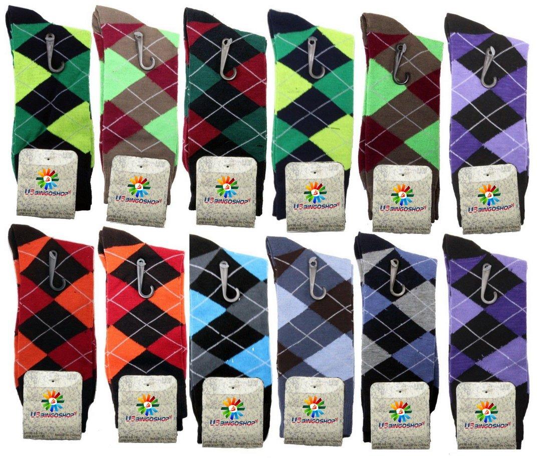 USBingoshopTM Mens Cotton Dress Socks (10-13, Argyle-2)