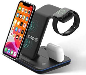Innens 15W Wireless Charger Station, 3-in-1 Fast Wireless Charging Dock Stand for iPhone 12 Mini/12/12 Pro/12 Pro Max/11/11 Pro/11 Pro Max/Xs Max/XS/XR, Galaxy Phone, Apple Watch 6/5/4/3/2/1, Airpods