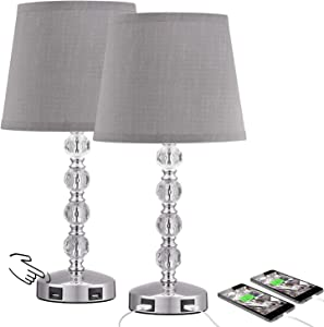 3 Way Dimmable Touch Control Crystal Table Lamp with 2 USB Charging Ports, Acaxin Bedside Light with Mordern Gray Fabric Shade, Bed Lamp for Bedroom, Living Room, Guest Room Set of 2 (Bulb Included)