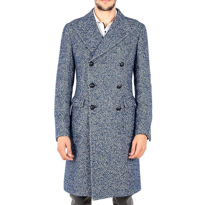 TAGLIATORE Cappotto Uomo Blue Alpaca Fantasia D.Petto MARTINGALA Made in  Italy  Amazon.it  Abbigliamento 37036cdcf116