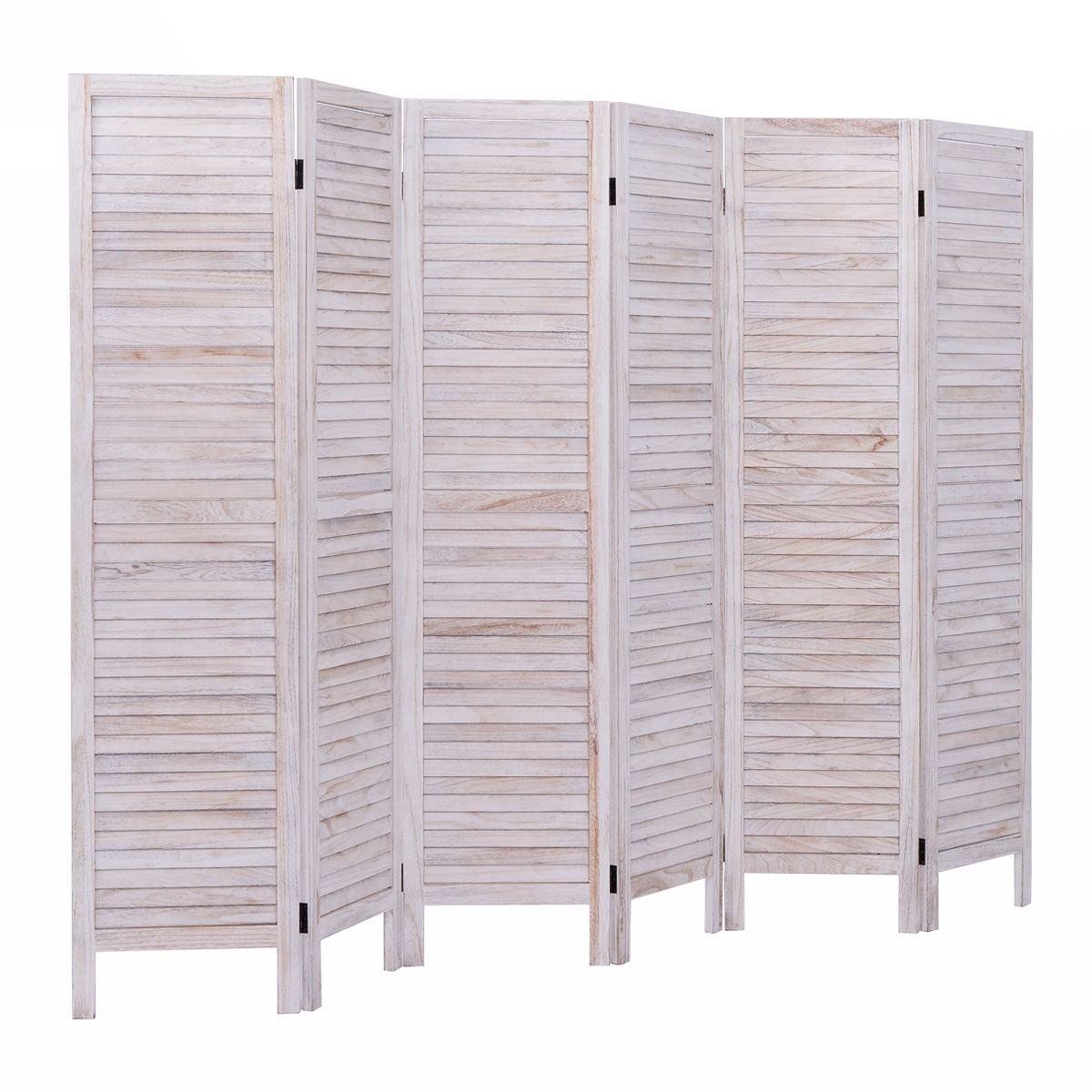 Alitop 6 Panel Room Divider Furniture Classic Venetian Wooden Slat Home 67 in.