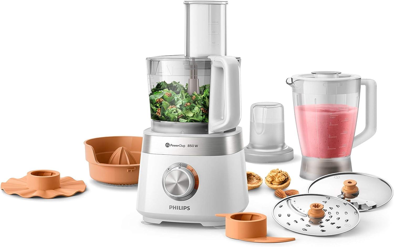 Philips Cocina Viva Collection Philips Robot de cocina HR7530/00, multifunción con licuadora, picadora y exprimidor, 850 W, capacidad 2,1 L, acero inoxidable, inoxidable