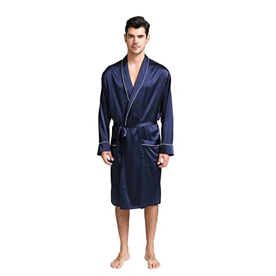 Jasmine Silk Mens Pure Silk Dressing Gown Navy Amazoncouk Clothing