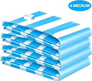 VMSTR Premium Medium Vacuum Storage Bags 4 Pack 80% Space Saver Compression Bags (Works with Any Vacuum Cleaner)