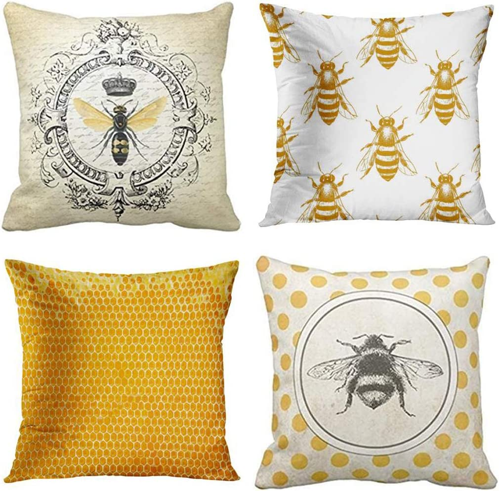 emvency set of 4 throw pillow covers bee honey yellow modern vintage french queen entomology with bees decorative pillow cases home decor square 16x16