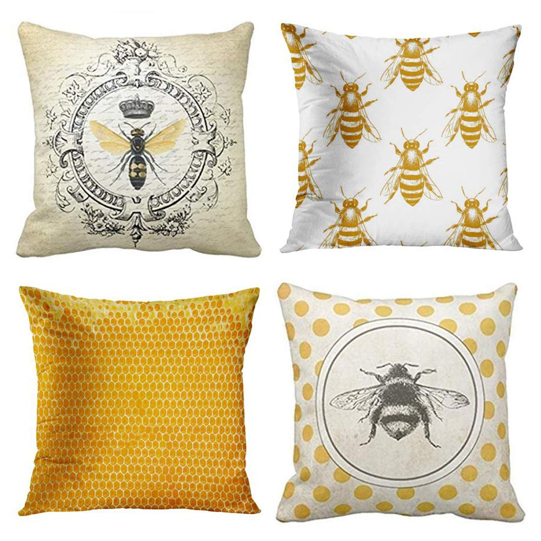 Emvency Set of 4 Throw Pillow Covers Bee Honey Yellow Modern Vintage French Queen Entomology with Bees Decorative Pillow Cases Home Decor Square 16x16 Inches Pillowcases