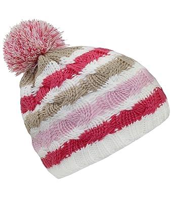 d55c7423fa6 EveryHead Fiebig Girls Winter Hat Bobble Pompom Knit Striped Half Lining  for Children (FI-