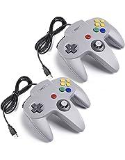 iNNEXT 2 Pack Classic N64 Retro USB Controller Gamepad Joystick para PC y MAC (Gris)