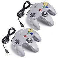 iNNEXT 2X N64 USB Retro 64-Bit Controller Wired PC Gamepad Klassischen Joypad Joystick Für Mac Windows Linux Raspberry Pi 3 (Grau)