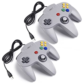 Retro Classic USB Controller N64,iNNEXT 2 Pack Classic N64 Retro USB  Controller Gamepad Joystick for PC and MAC (Gray)
