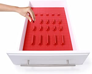 KMN Home, DrawerDecor, Customizable Organizer, Drawer and Shelf Cabinet Liners, Non Slip and Easy Clean, 21 Pieces - Red