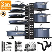 Pot Rack Organizers,8 Tiers Pots and Pans Organizer, Adjustable Pot Lid Holders & Pan Rack for Kitchen Counter and Cabinet, Lid Organizer for Pots and Pans With 3 DIY Methods