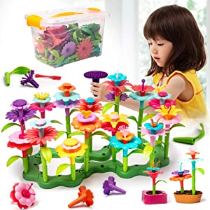 Bebila Flower Garden Building Toys for Girls Build a Bouquet Sets Playset Creative Educational Toy Gift Preschool Children Age 3 to 7 Year Old Kids Girls Pretend Gardening Gifts(133PCS)