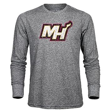 NBA MIAMI HEAT hombre Premium Triblend camiseta de manga larga, gris brezo, pequeño