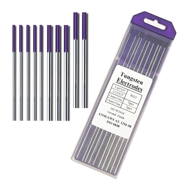 Purple Assorted Tungsten 5PCS 3//32 TIG Welding Tungsten Electrodes Rare Earth Blend 5PCS 1//16