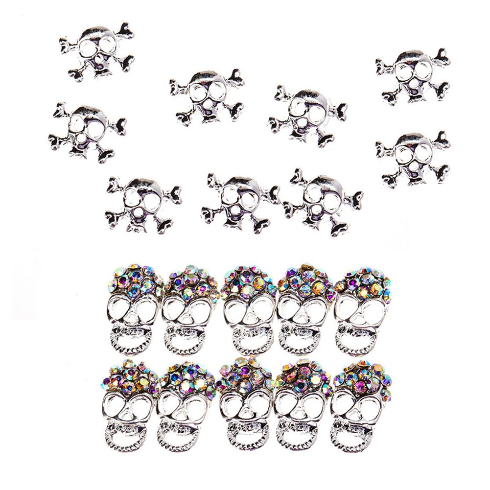 Unique Nail Art Set of 20pcs High Quality Metal 3D Decorations Including Silver Skulls And Skulls Studded With Rhinestones / Gems / Crystals / Jewels By VAGA