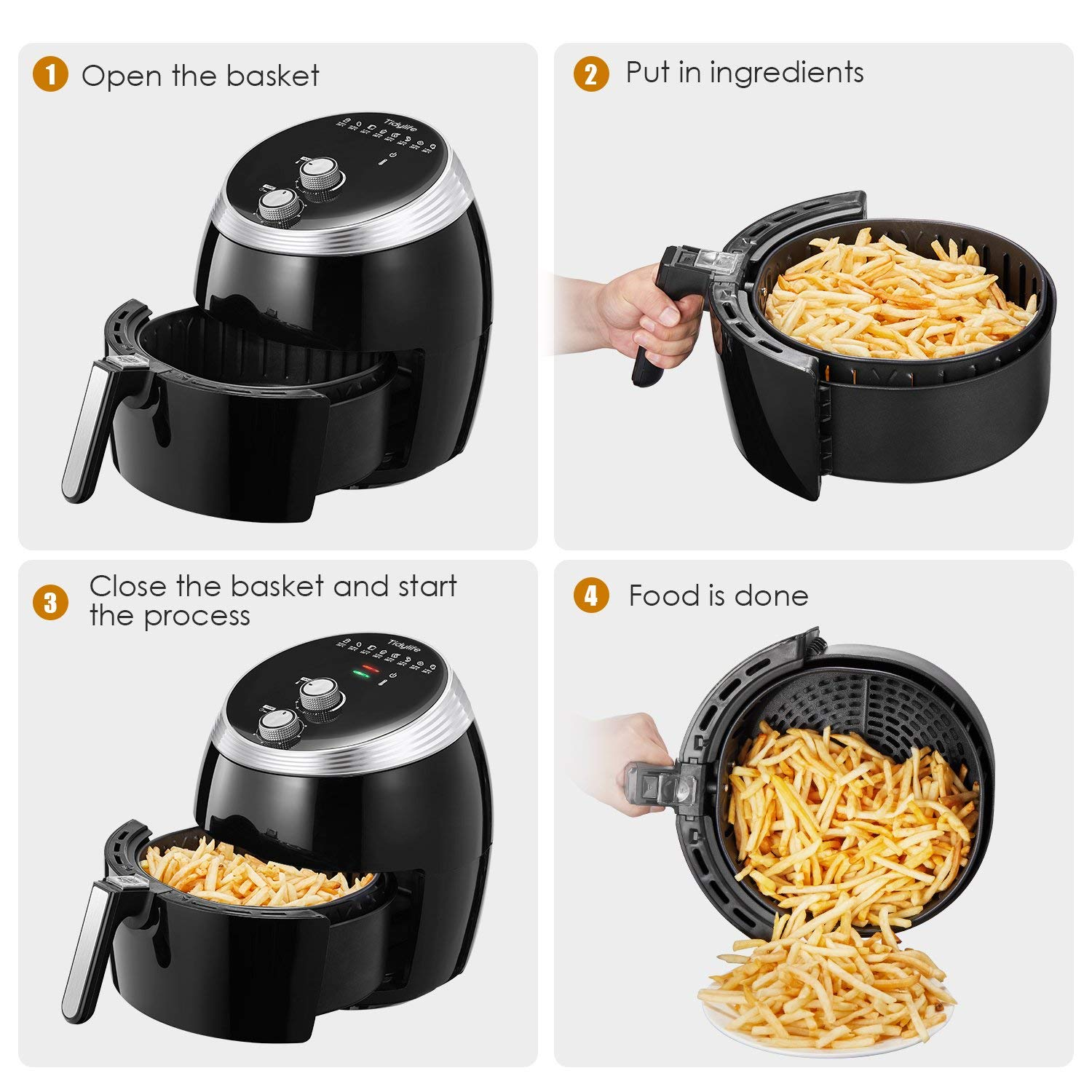 Air Fryer, Tidylife 6.3QT Large Air Fryer, 1700W Oilless XL Oven Cooker, Smart Time and Temperature Control, 7 Cooking Preset, 180-400℉Hot Air Fryer with Non-stick Basket, Auto Shut Off, 50+ Recipes by Tidylife (Image #5)