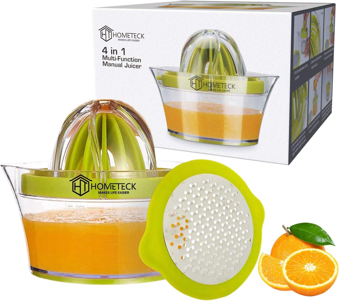 HomeTeck® Lemon Manual Juicer, 4 in 1 Lemon Orange Citrus Juicer Built-in Measuring Cup and Grater, Manual Hand Squeezer, 12OZ.