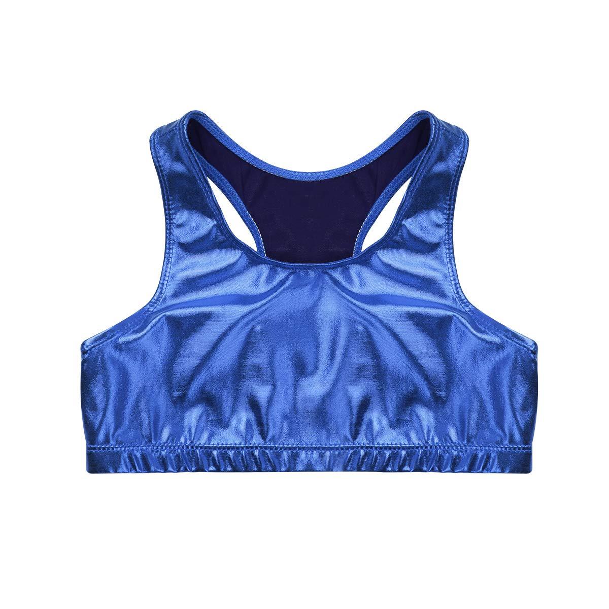 agoky Girls Shiny Sleeveless Racer Back Crop Top Sports Bra Dance Workout Short Vest