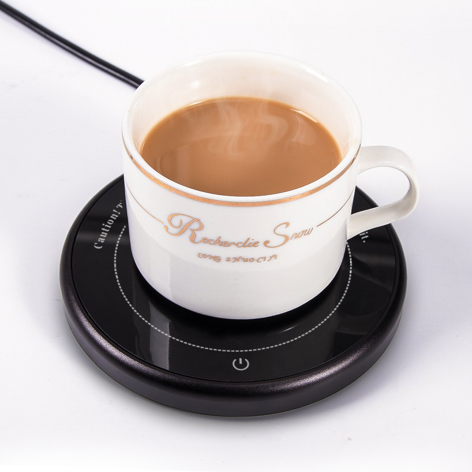 Coffee Mug Warmer Tea Milk Cocoa Electric Cup Beverage Plate Thermostatic Smart Cup Heater for Home Office Use 8h Auto Shut Off Coffee Beverage Warmer as Gift (Up to 131℉/55℃)