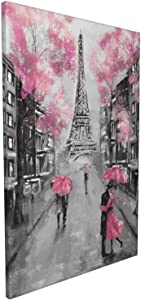 Vantboo Romantic Lovers On The Streets of Pink Paris Canvas Picture Prints Wall Art Home Decor Eiffel Tower Artworks Pictures for Living Room Bedroom Bathroom Decoration Ready to Hang 16x24 Inches