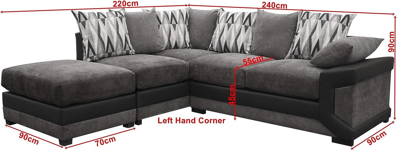 Louisiana Large Corner Sofa Suite Black Grey Left Amazon Co Uk Kitchen Home