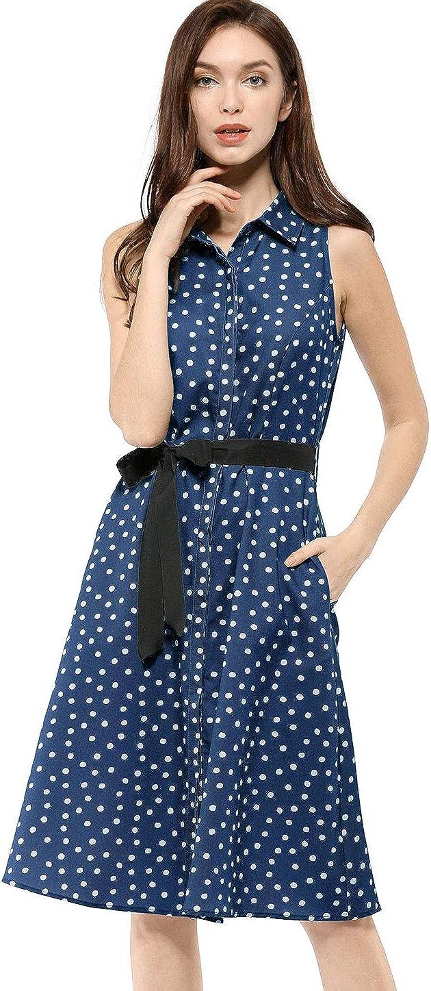 Allegra K Women's Sleeveless Polka Dots Midi Shirt Dress