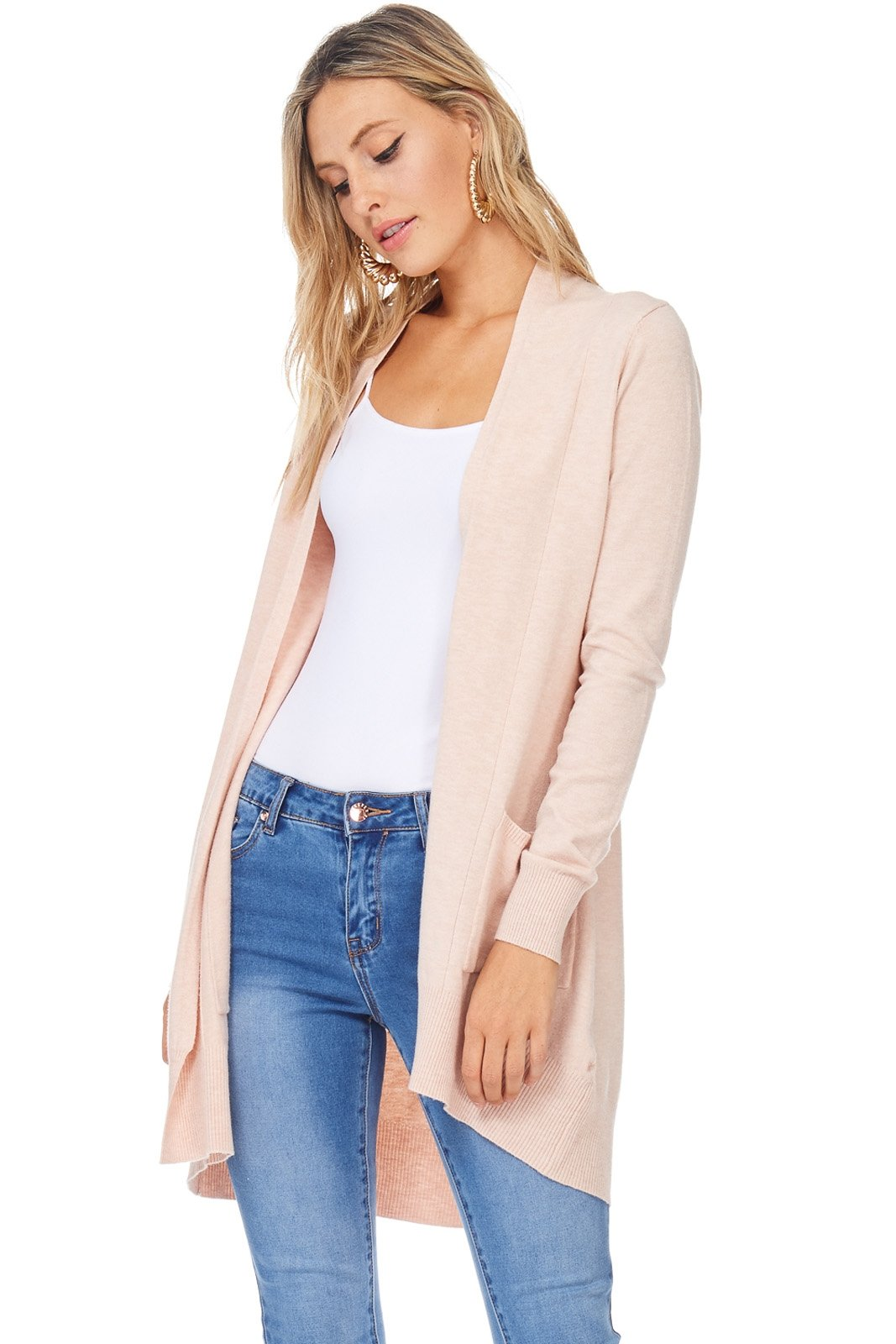 A+D Womens Basic Open Front Knit Cardigan Sweater Top W/Pockets (Blush, Medium/Large)