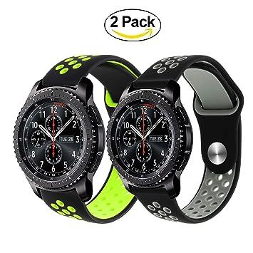 TRUMiRR Bracelet de Montre Gear S3, Bracelet de Montre en Caoutchouc Silicone 22mm Bracelet de