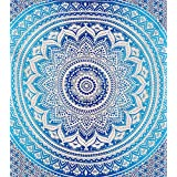 Montreal Tappassier Ombre Indian Wall Hanging Hippie Mandala Tapestry Bohemian Bedspread Ethnic Dorm Decor, Blue