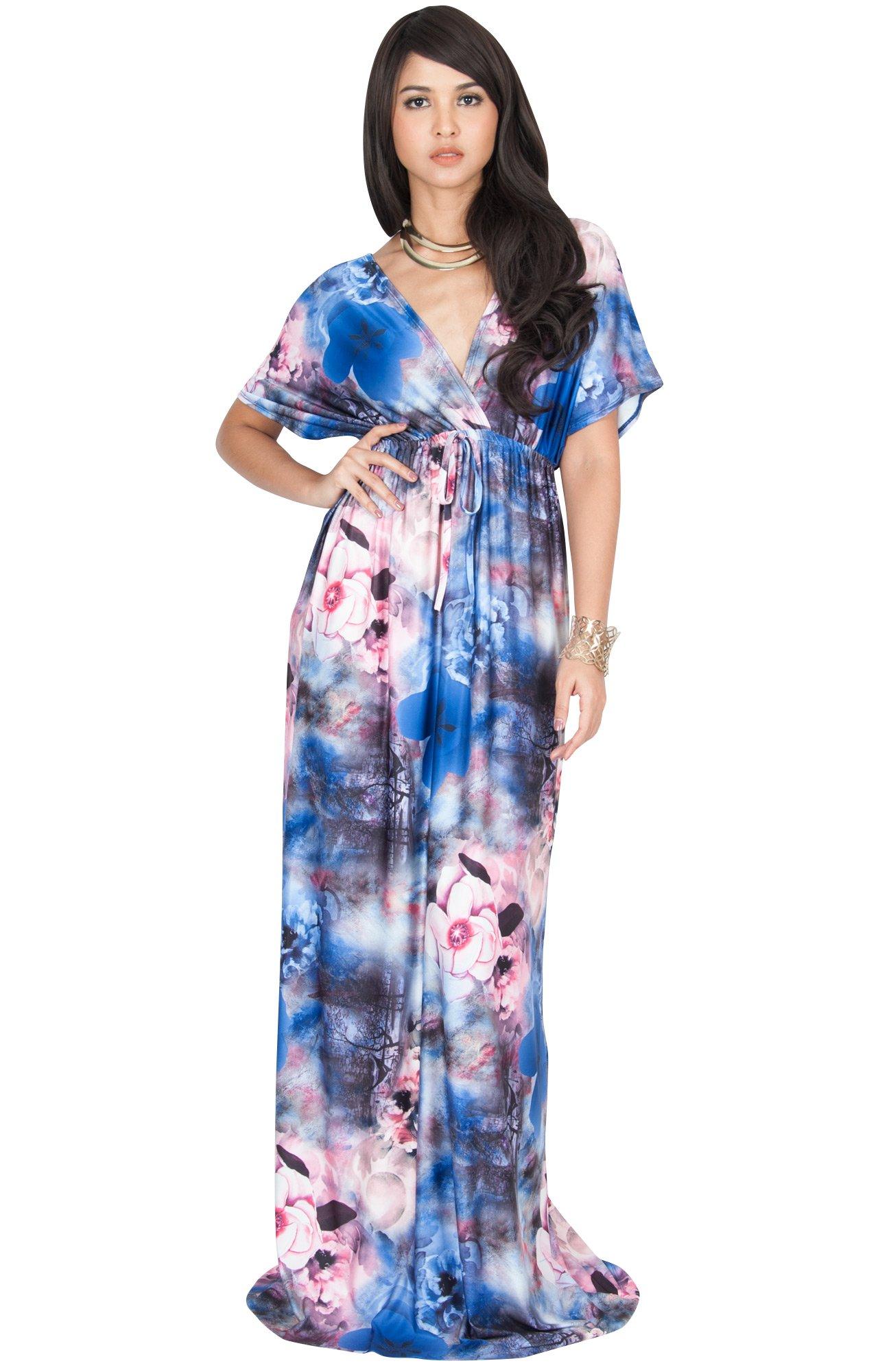7bb568472de1 KOH KOH Plus Size Womens Long Kimono Short Sleeve V-Neck Floral Print  Spring Summer Flowy Cute Casual Evening Day Sundress Sundresses Sun Gown  Gowns Maxi ...