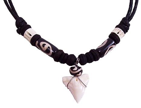 Amazon real shark tooth necklace black bead clothing aloadofball Choice Image