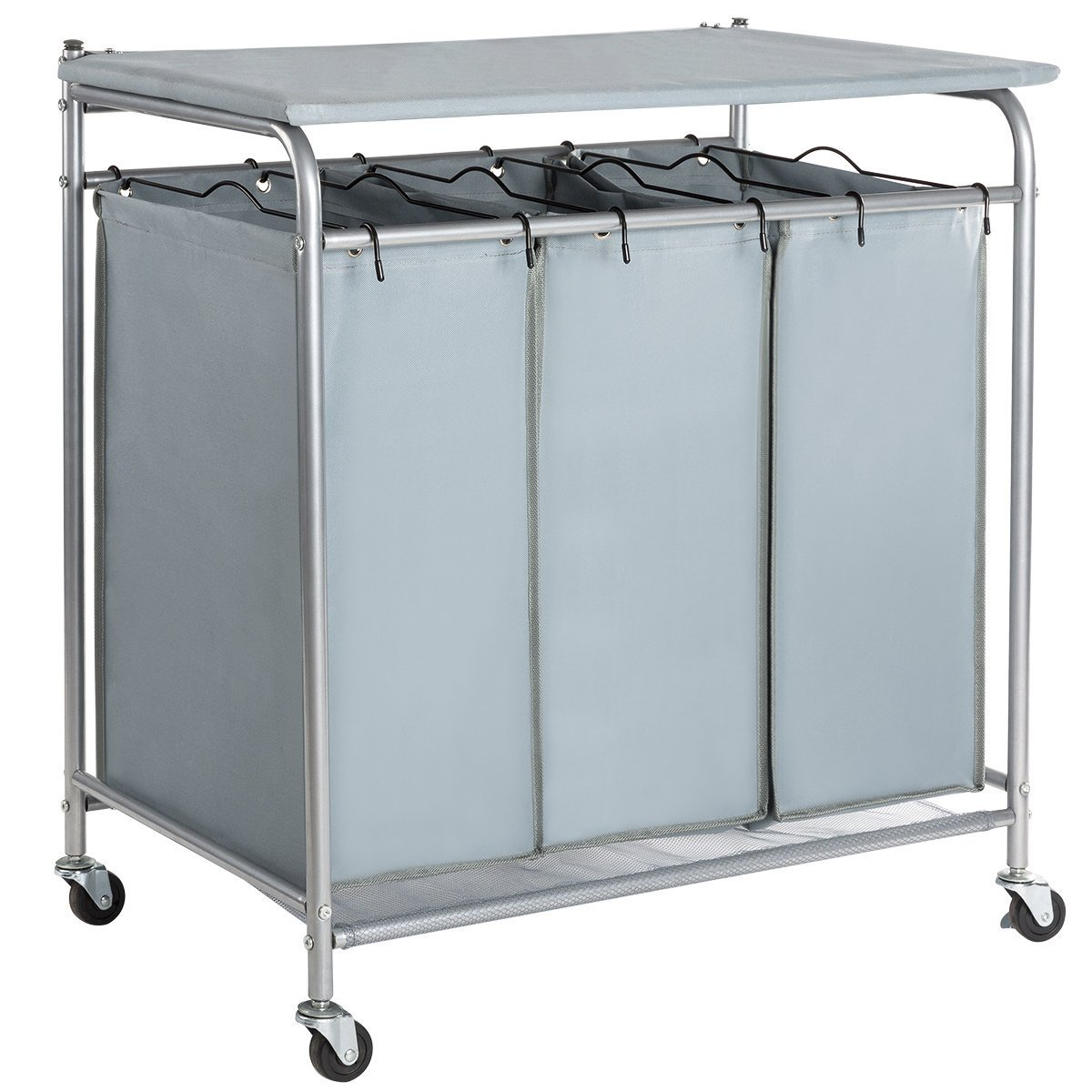 HollyHOME Laundry Sorter Cart with Foldable Ironing Board with 3 Lift-Off Bags Rolling Heavy-Duty Laundry Hamper with Removable Bags Mobile Brake Caster Light Gray