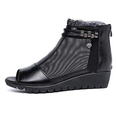 07c0775934d SUNNY Store Women s Peep Toe Out Slingback Platform Wedge Sandals(Black -35 4.5