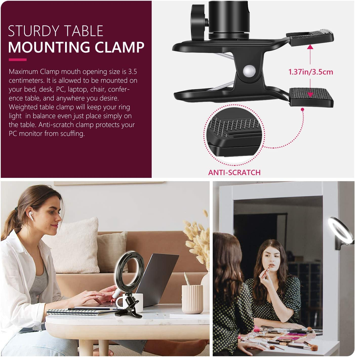 ART DNA 6-Inch USB Selfie Ring Light with Clamp Mount for PC Monitor//Desk Ring Light for Game Live Stream TIK Tok YouTube Webcam Light 3 Light Modes 360/° Rotatable 11-Level Dimmable