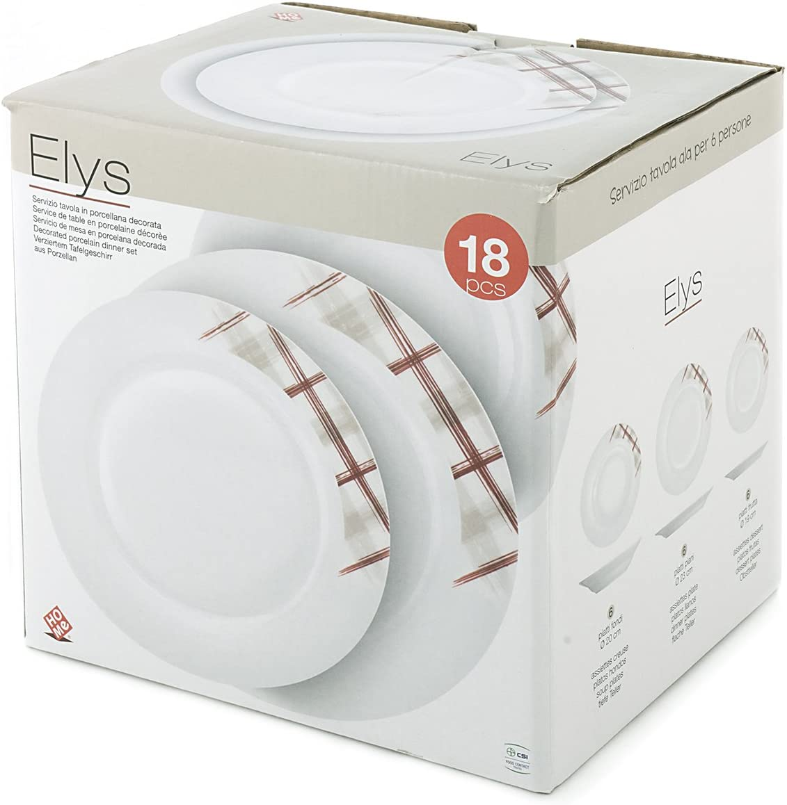 Porcelaine Blanc Home Aile Service Assiettes Table 12/pi/èces