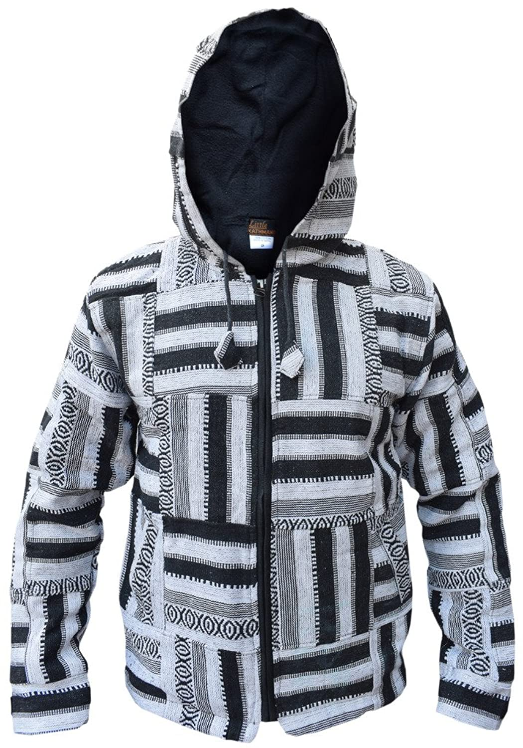 Little Kathmandu Men's Black White Patchwork Fleece Lined Winter Jacket
